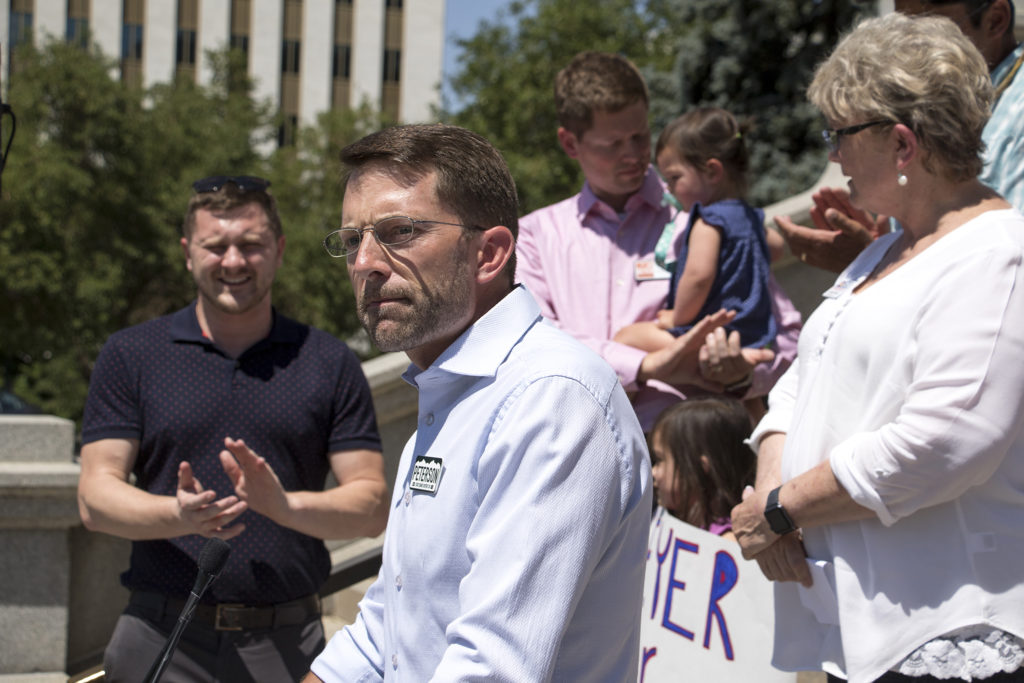 Steve Peterson Geyer, an independent running for House District 30, speaks at a rally hosted by Unite Colorado supporting five independent candidates running for state offices, July 9, 2018. (Kevin J. Beaty/Denverite)