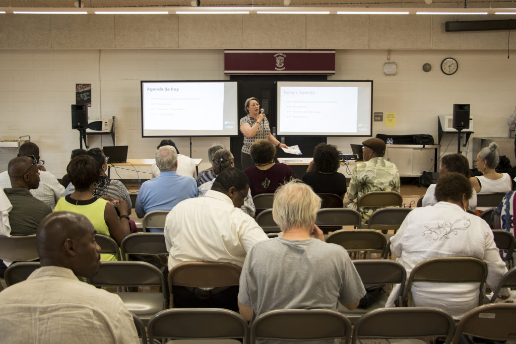 District 11 City Council member Stacie Gilmore speaks at a meeting on an early draft of the Far Northeast Area Plan at the Montbello campus cafeteria, July 12, 2018. (Kevin J. Beaty/Denverite)