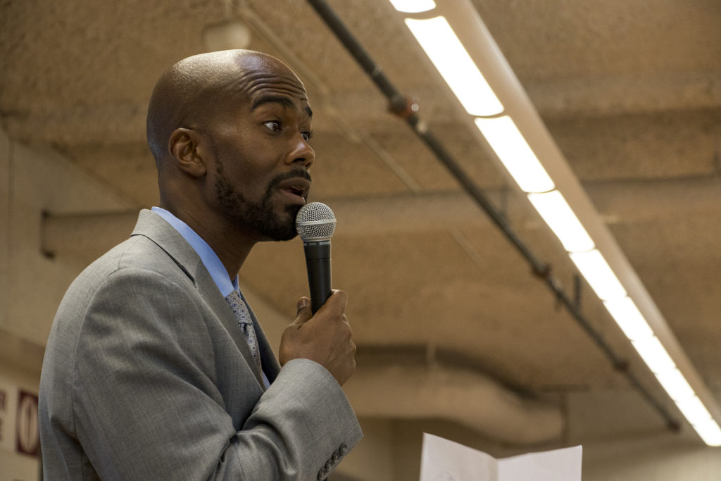 District 8 City Council member Chris Herndon speaks during a meeting on an early draft of the Far Northeast Area Plan at the Montbello campus cafeteria, July 12, 2018. (Kevin J. Beaty/Denverite)