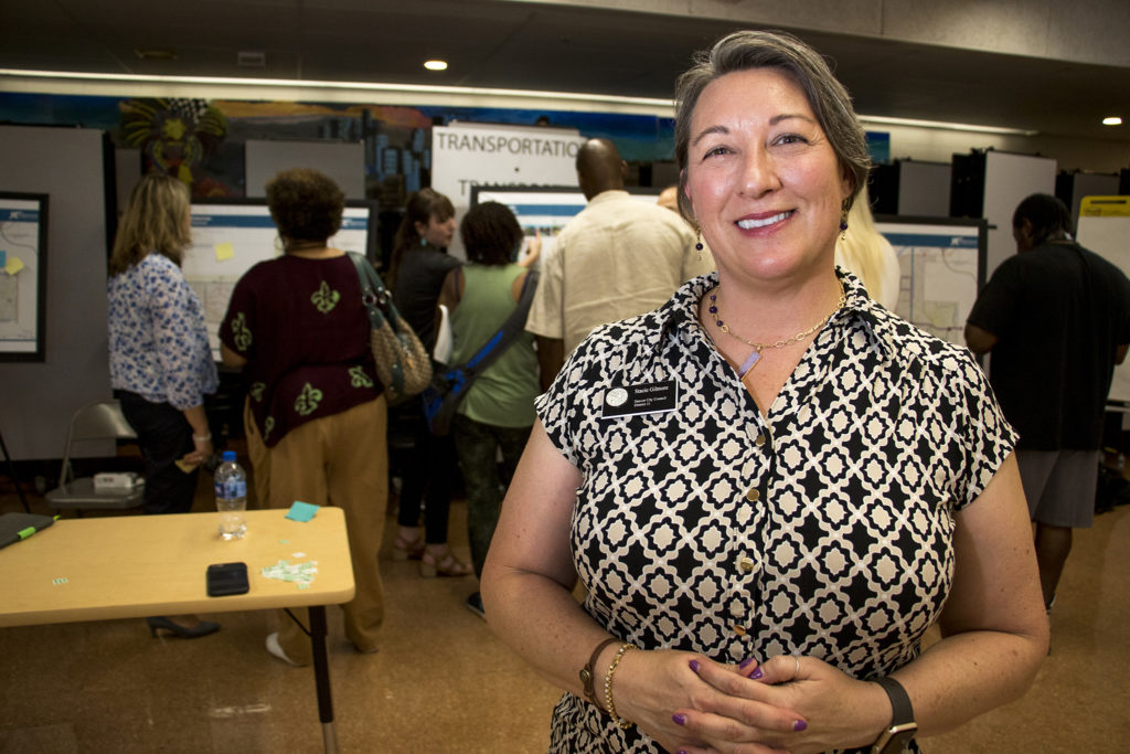 District 11 City Council member Stacie Gilmore poses for a portrait during a meeting on an early draft of the Far Northeast Area Plan. Montbello campus cafeteria, July 12, 2018. (Kevin J. Beaty/Denverite)
