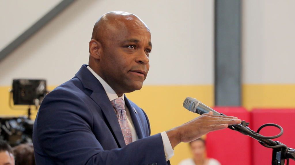 Mayor Michael Hancock makes his State of the City address at the Carla Madison Recreation Center, July 16, 2018. (Kevin J. Beaty/Denverite)