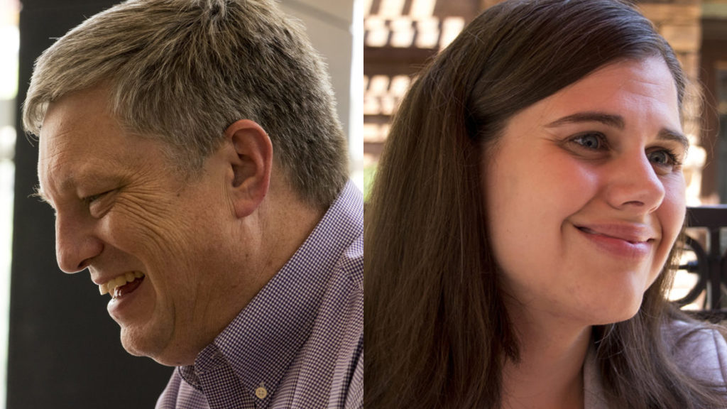 Secretary of State Wayne Williams (left) and his challenger Jena Griswold. (Kevin J. Beaty/Denverite)
