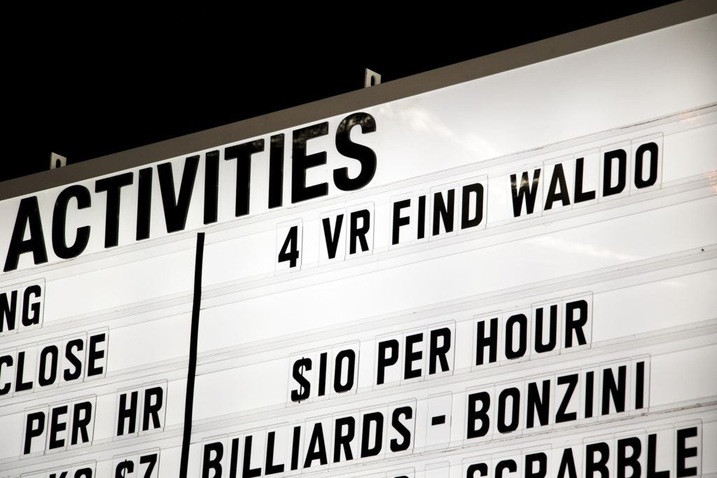 """4 VR find Waldo."" Punch Bowl Social Broadway, July 18, 2018. (Kevin J. Beaty/Denverite)"