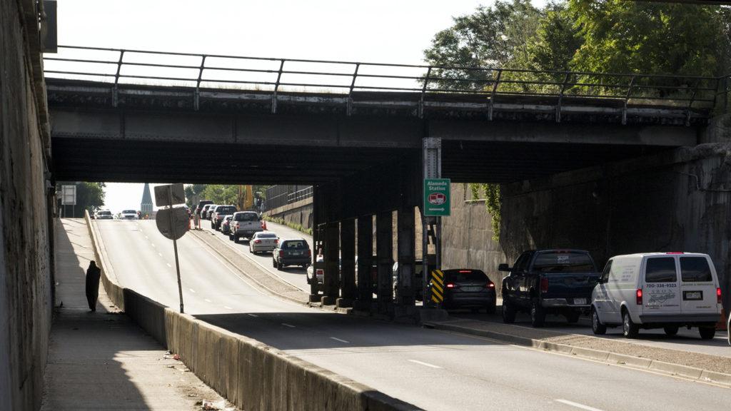 A defunct bridge over Alameda Avenue that's slated to be demolished, July 25, 2018. (Kevin J. Beaty/Denverite)