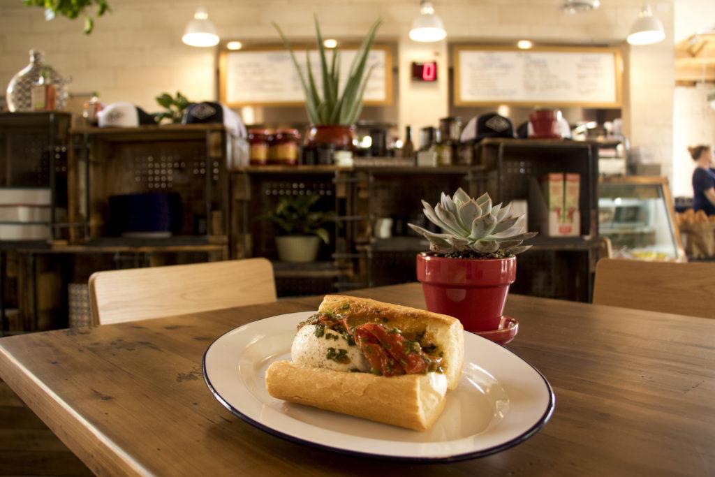 The Tomato and Burrata sandwich at Leven Deli Co. on 12th Avenue, July 27, 2018. (Kevin J. Beaty/Denverite)