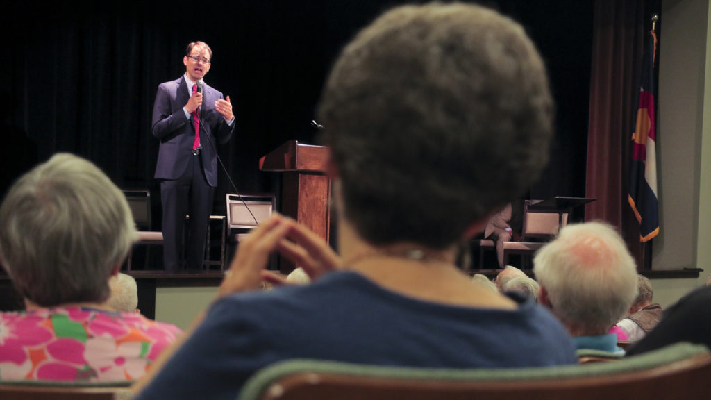 Colorado Attorney General candidate Phil Weiser speaks at a forum at the Windcrest Retirement Community in Highlands Ranch, July 31, 2018. (Kevin J. Beaty/Denverite)