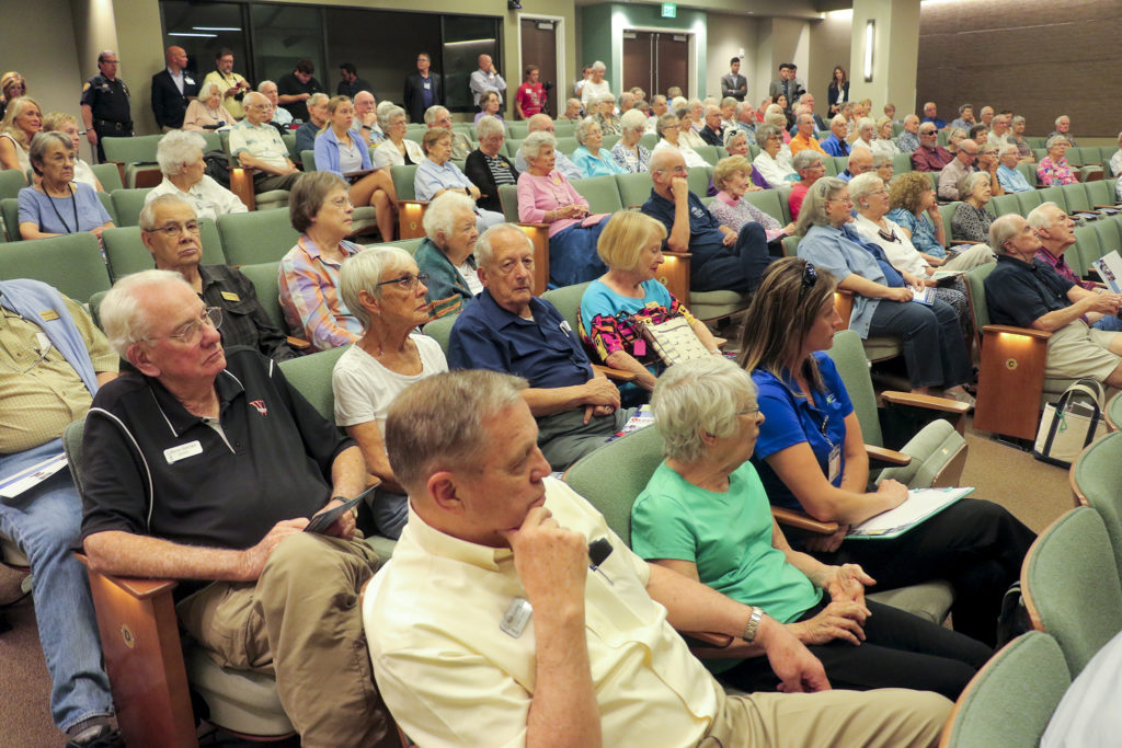A forum for Colorado Attorney General candidates at the Windcrest Retirement Community in Highlands Ranch, July 31, 2018. (Kevin J. Beaty/Denverite)