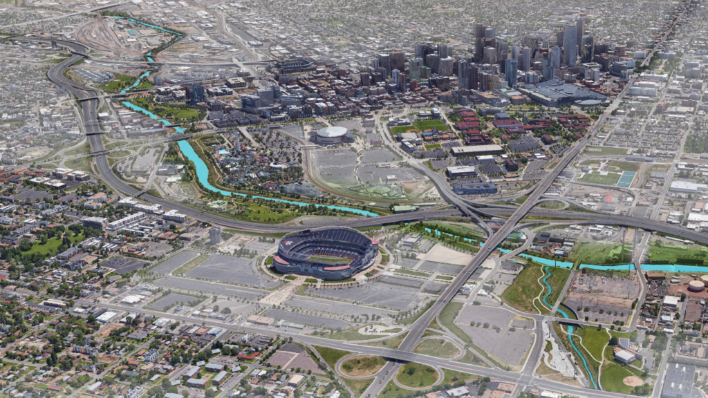 A rendering of the Broncos stadium area as it exists today. (Football Stadium Metropolitan District)