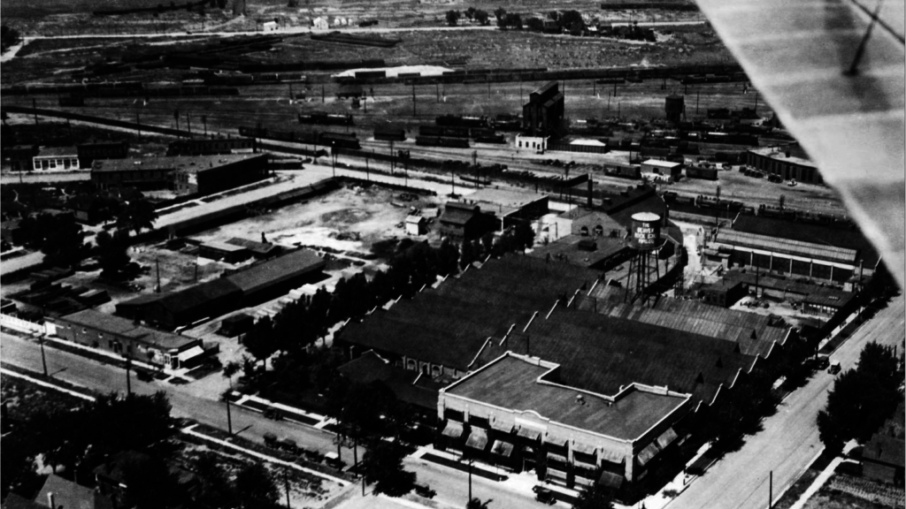 The Denver Rock Drill Manufacturing Company as photographed from an airplane circa 1925. (Denver Public Library/Western History & Genealogy Dept./X-24266)