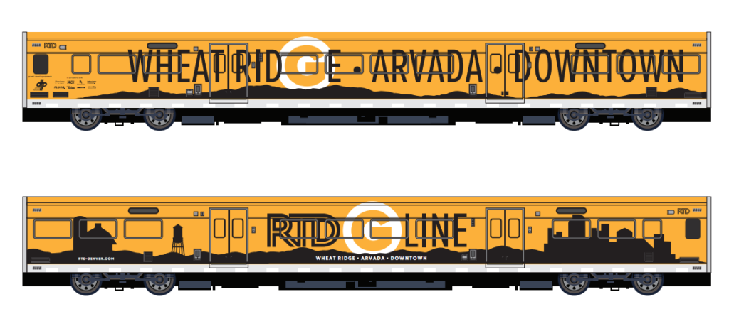 A marketing image of graphics that could be used on the RTD G Line. (RTD)