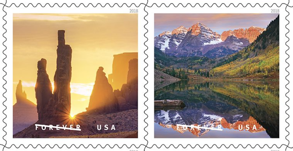 A stamp image of Monument Valley Navajo Tribal Park in Arizona and Utah by David Muench is at left. At right is    Maroon Bells peaks, Snowmass Wilderness, Colorado, copyright Tim Fitzharris/Minden Pictures.