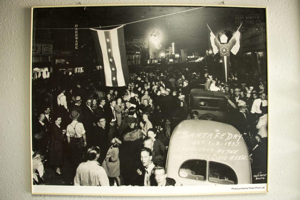 """Santa Fe Day,"" a festival on Santa Fe Drive in 1937, seen in Newsed's La Alma-Lincoln Park headquarters."