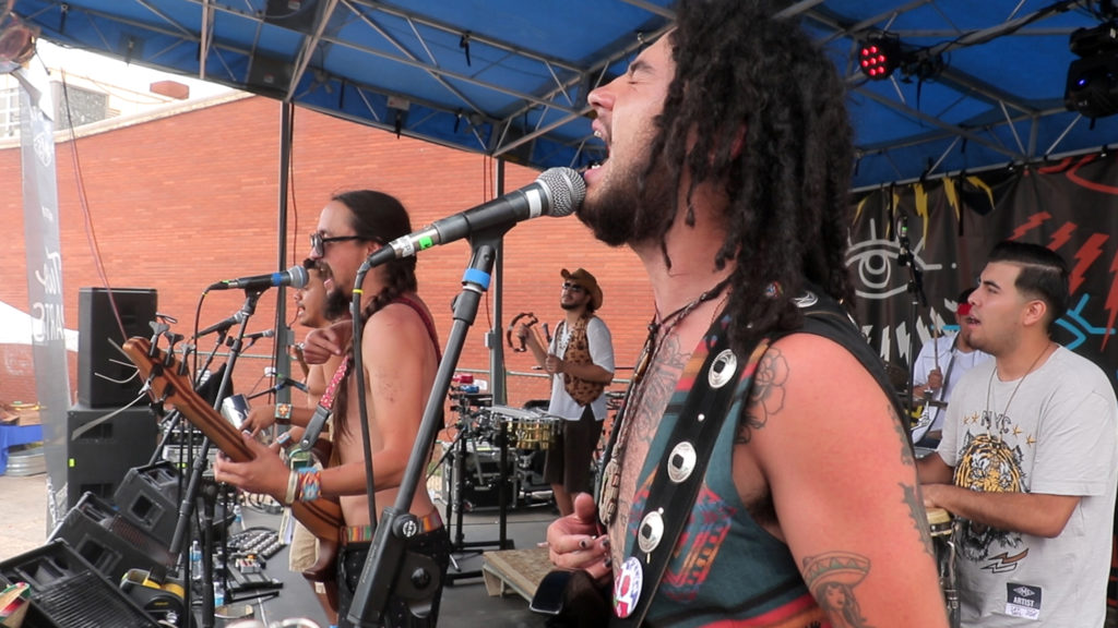 Los Mocochetes play the Sesh Stage during the UMS, July 28, 2018. (Kevin J. Beaty/Denverite)