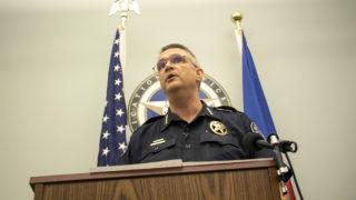 Denver Sheriff Patrick Firman addresses the press after an incident at the Denver Downtown Detention Center, Aug. 1, 2018. (Kevin J. Beaty/Denverite)