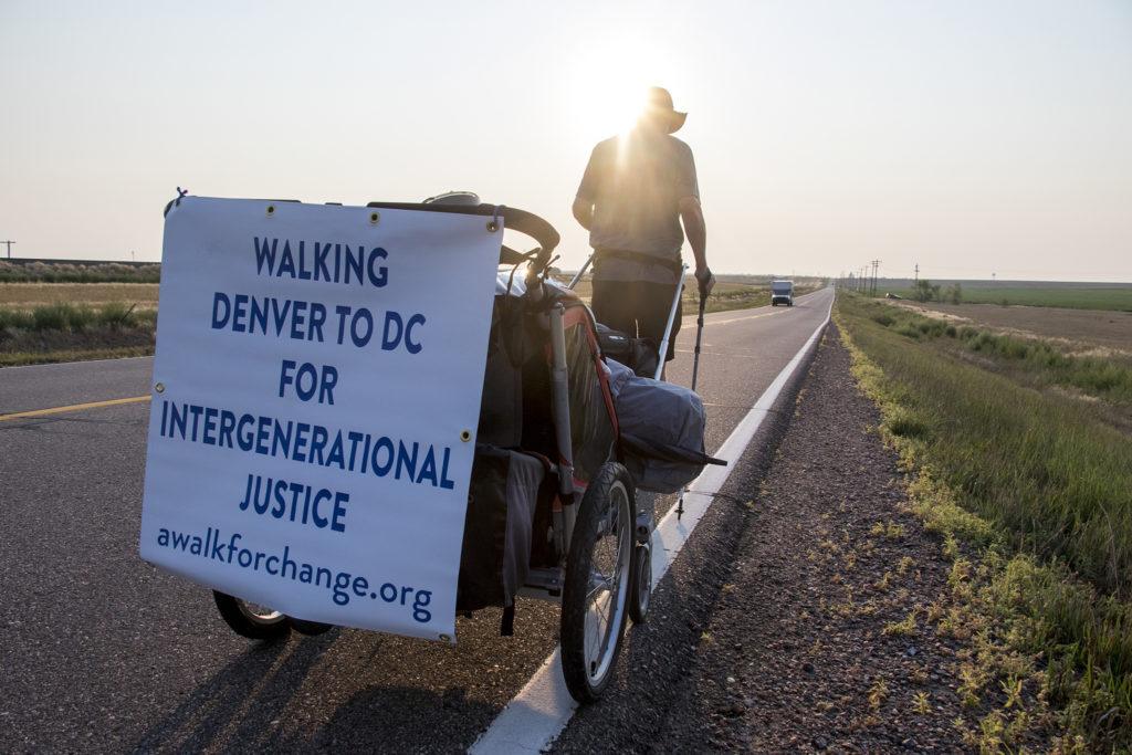 Bob McCormick sets off on a 1,600 mile walk from Denver to Washington, D.C. (Kevin J. Beaty/Denverite)