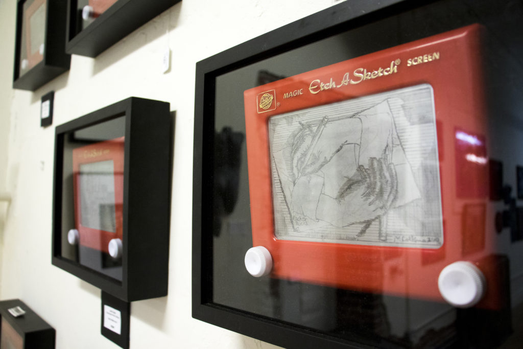 Etch-A-Sketch art by Matt Collins on display at Veterans of Foreign Wars Post 1 on Santa Fe Drive, Aug. 8, 2018. (Kevin J. Beaty/Denverite)