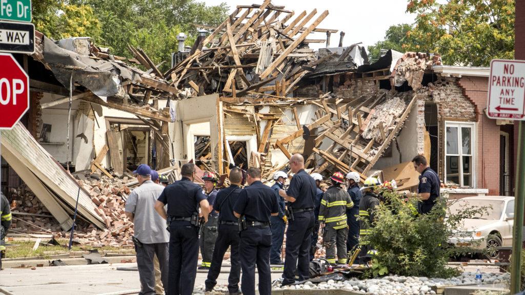 A home explosion on Santa Fe Drive in Denver's Baker neighborhood, Aug. 14, 2018. (Kevin J. Beaty/Denverite)