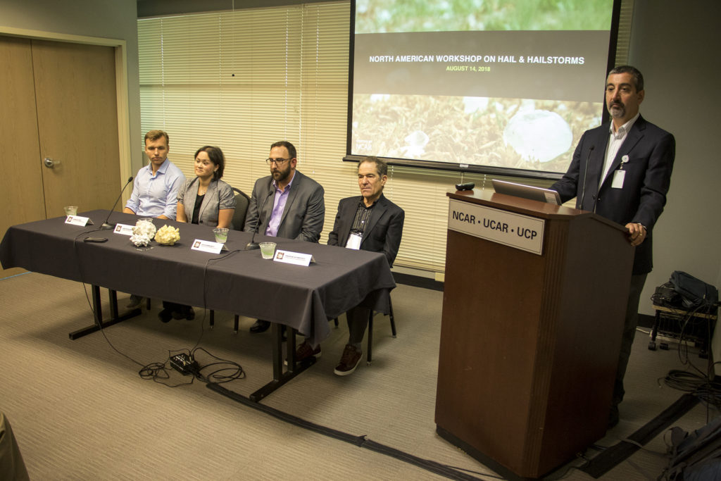 Speakers Andreas Prein (left to right), Kristen Rasmussen, Ian Giammanco and Andrew Heymsfield on a panel at the North American Workshop on Hail and Hailstorms at the National Center for Atmospheric Research, Aug. 14, 2018. (Kevin J. Beaty/Denverite)