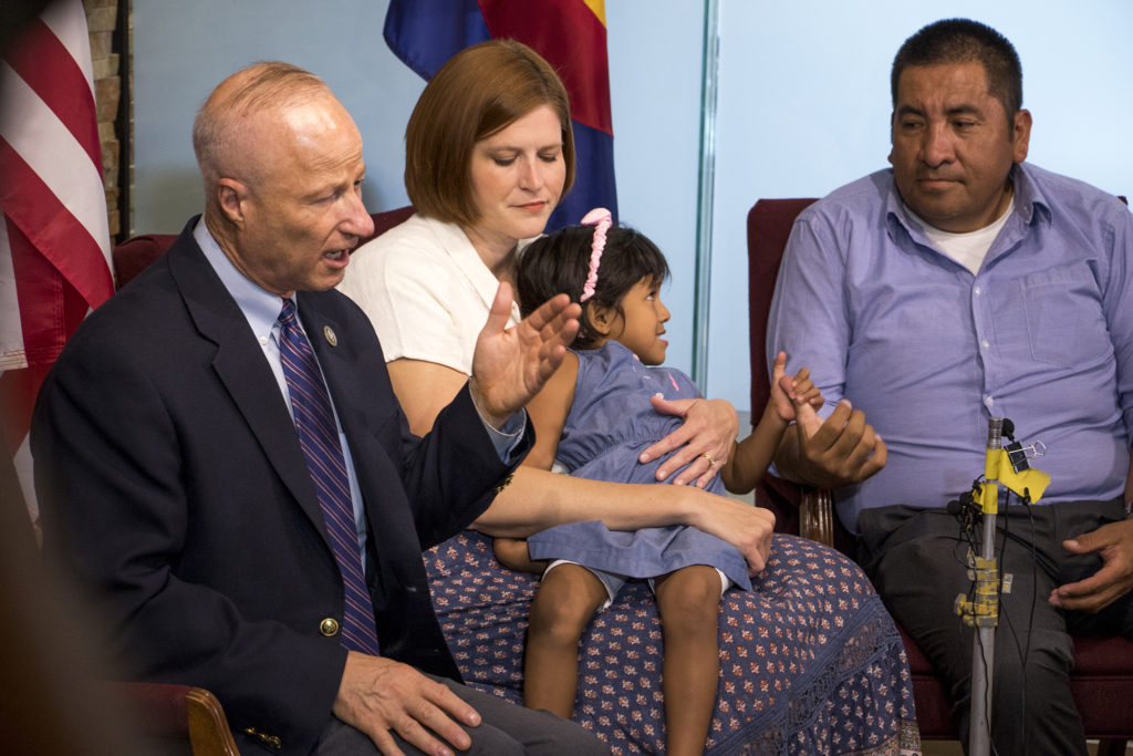 Congressman Mike Coffman holds a press conference with the Becerra family, whose adopted daughter Angela was denied legal residency, Aug. 16, 2018. (Kevin J. Beaty/Denverite)