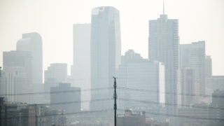 Denver's air quality is visibly not great on Aug. 20, 2018. (Kevin J. Beaty/Denverite)