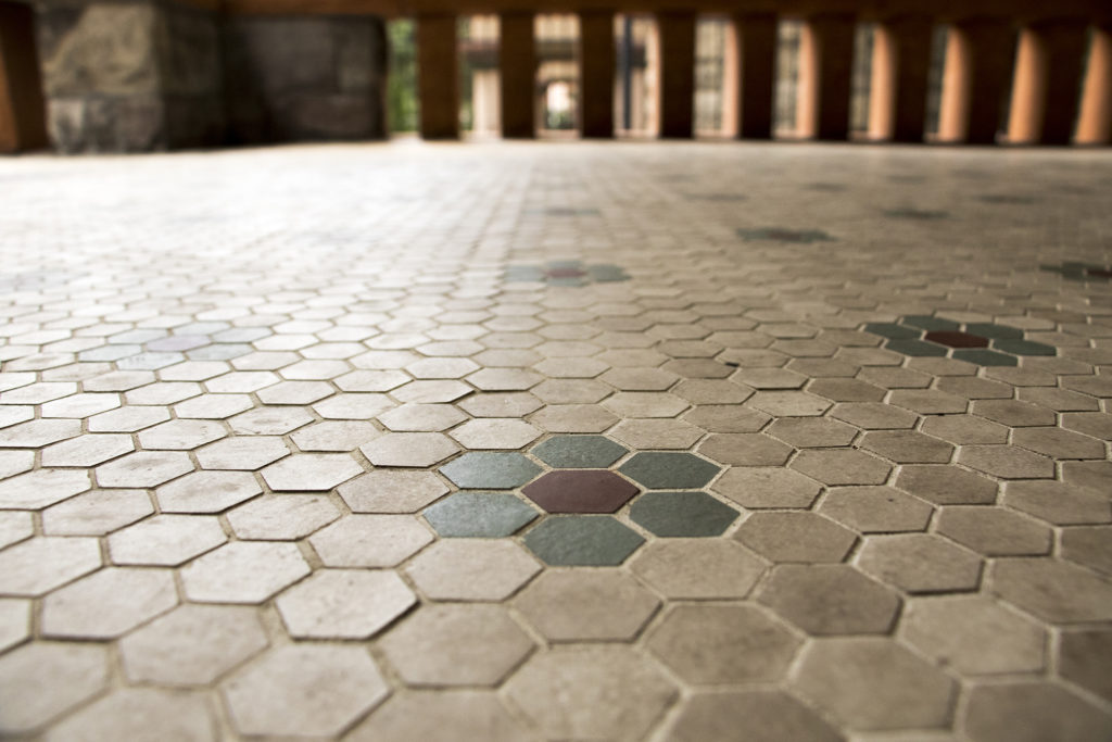 Porch tiles that were polished up as part of the work. Three years of renovations on the Molly Brown House are finally complete, Aug. 21, 2018. (Kevin J. Beaty/Denverite)