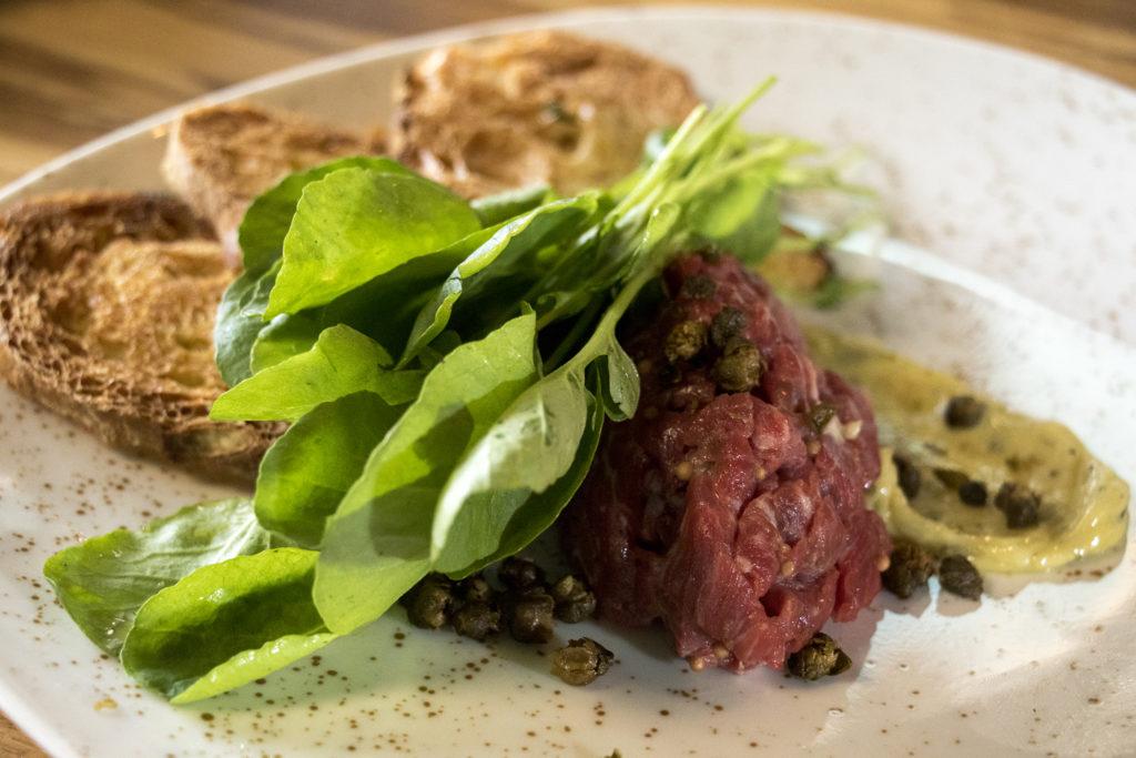 Steak tartare at Mila, the new restaurant at Denver Place downtown, Aug. 28, 2018. (Kevin J. Beaty/Denverite)