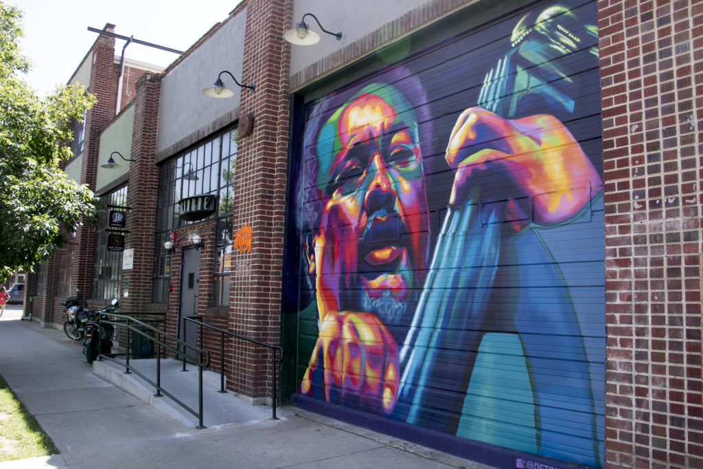 A mural by Detour in RiNo. Five Points, Aug. 29, 2018. (Kevin J. Beaty/Denverite)