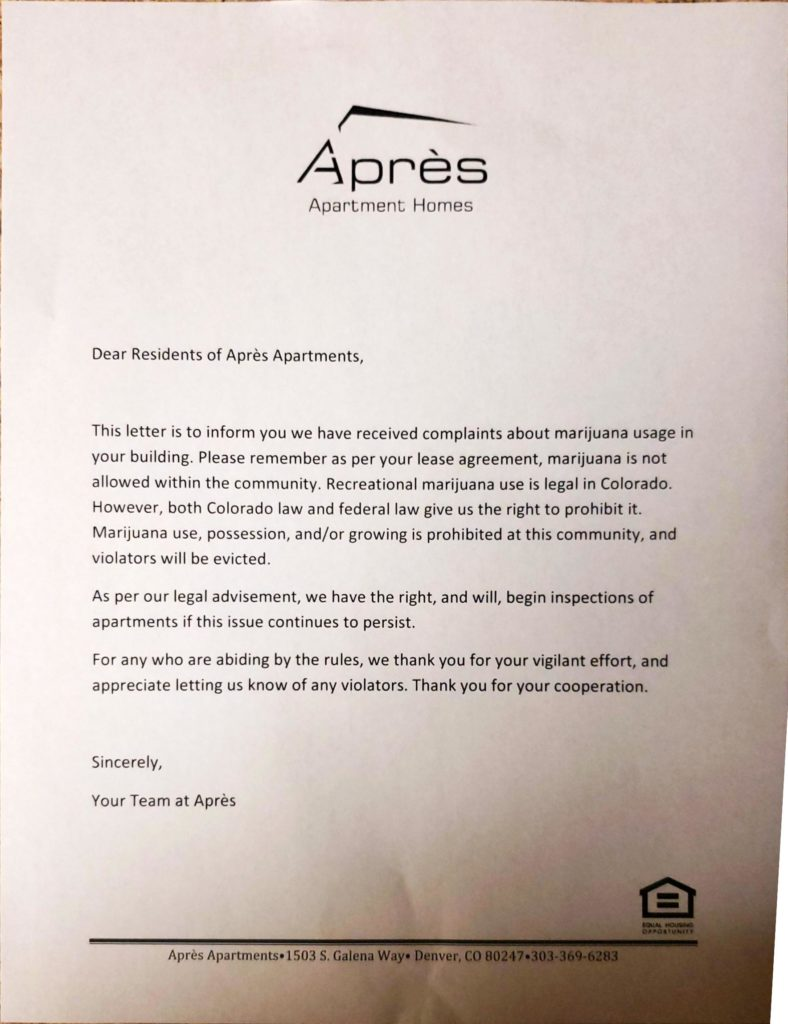 A document warning of inspections at an apartment building. (Courtesy a tenant.)