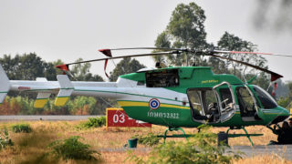 A Bell 407 GXP helicopter operated by Thailand's Bureau of Royal Rainmaking & Agricultural Aviation at Khon Kaen. (Alec Wilson/Flickr/CC BY-SA 2.0)