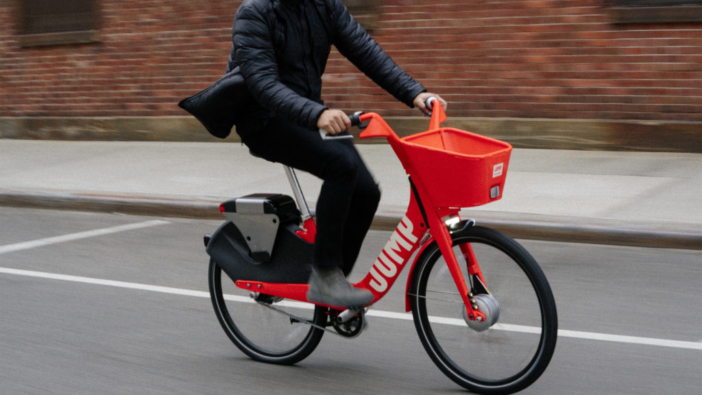 A promotional photo of a JUMP bike (courtesy of Uber)