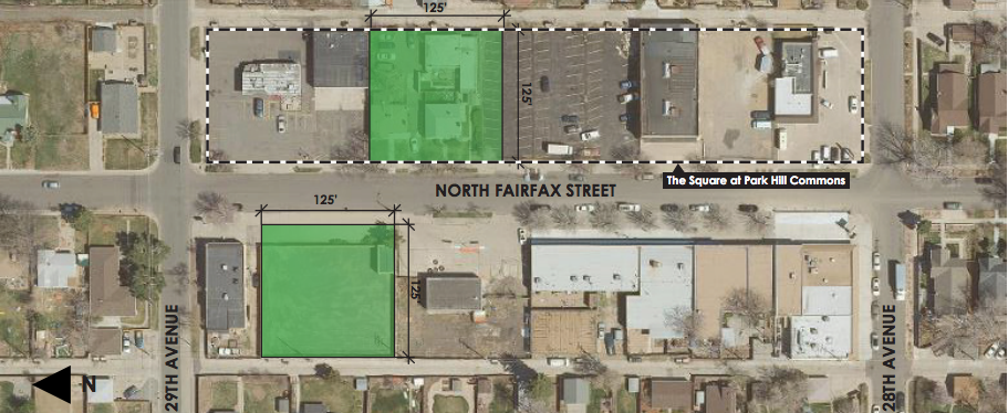 A map detailing the potential land swap between the city of Denver and HM capital on 29th and Fairfax.