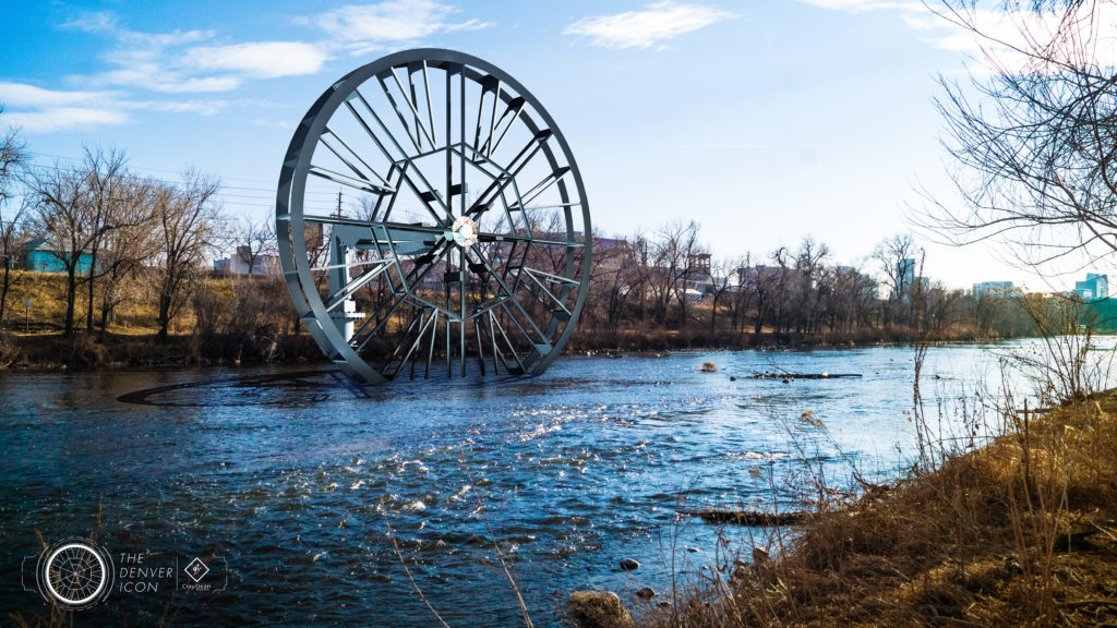 """An illustration of the """"Denver Icon"""" water-wheel project proposed for the South Platte River. (Courtesy ClayDean Electric)"""