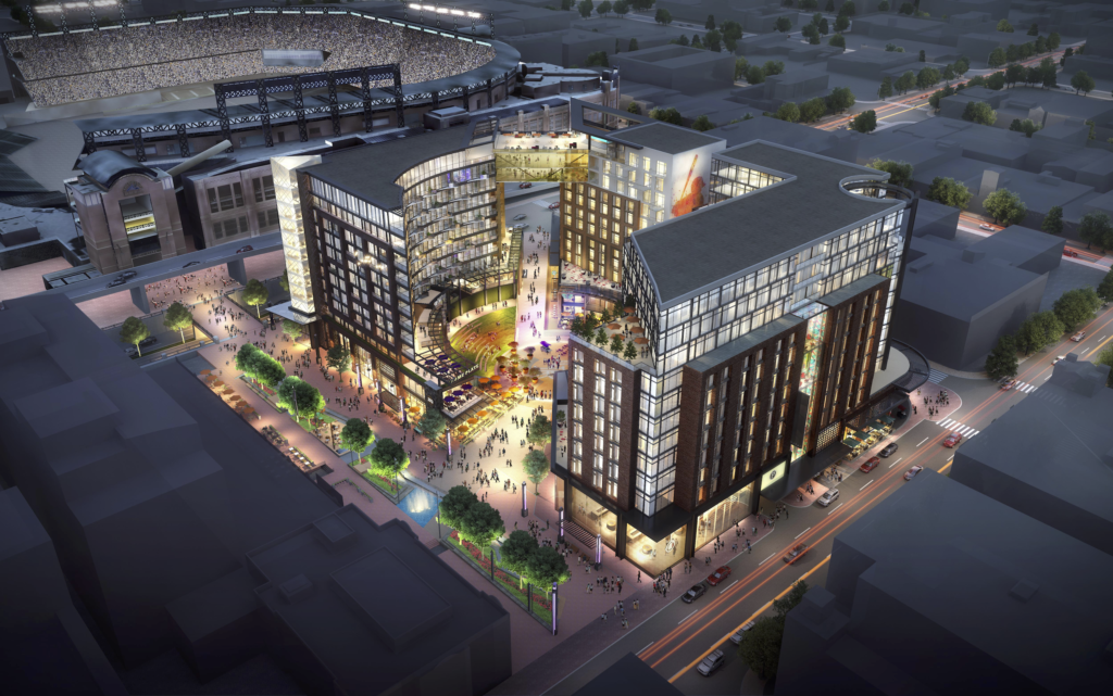 A rendering of the proposed West Lot development near Coors Field. (Courtesy Stantec)
