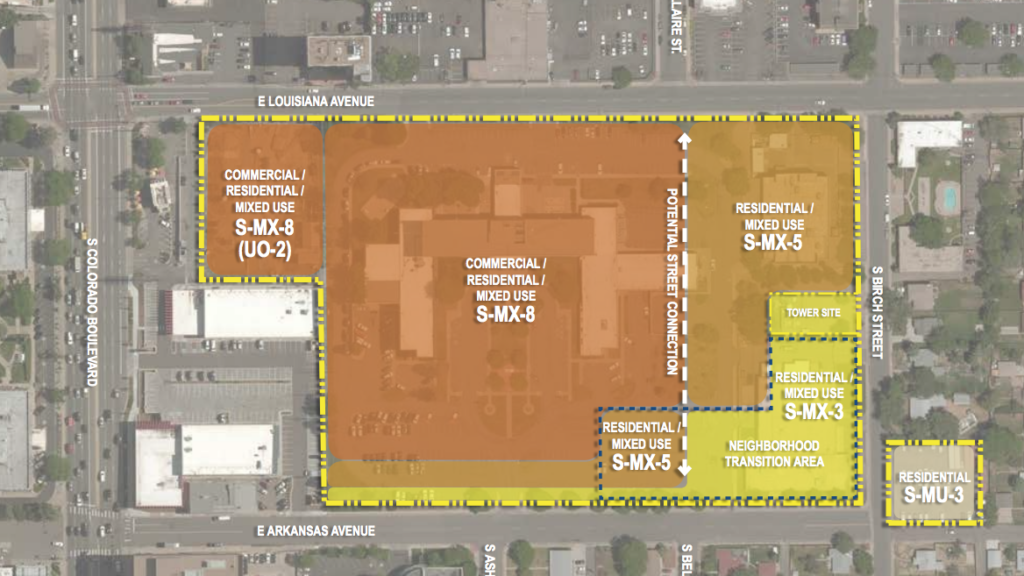 A proposed rezoning for the CDOT headquarters site at Arkansas and Colorado.