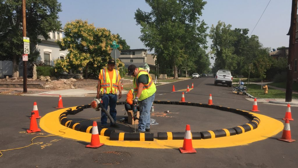 Traffic circle installation in West Highland. (Courtesy of DPW)