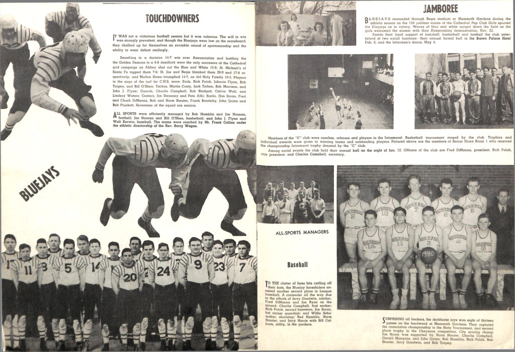 A sports spread in Cathedral High School's 1940 yearbook. (Archdiocese of Denver archives)