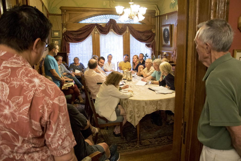 Capitol Hill United Neighbors' historic preservation committee meets inside Castle Marne, Aug. 27, 2018. (Kevin J. Beaty/Denverite)