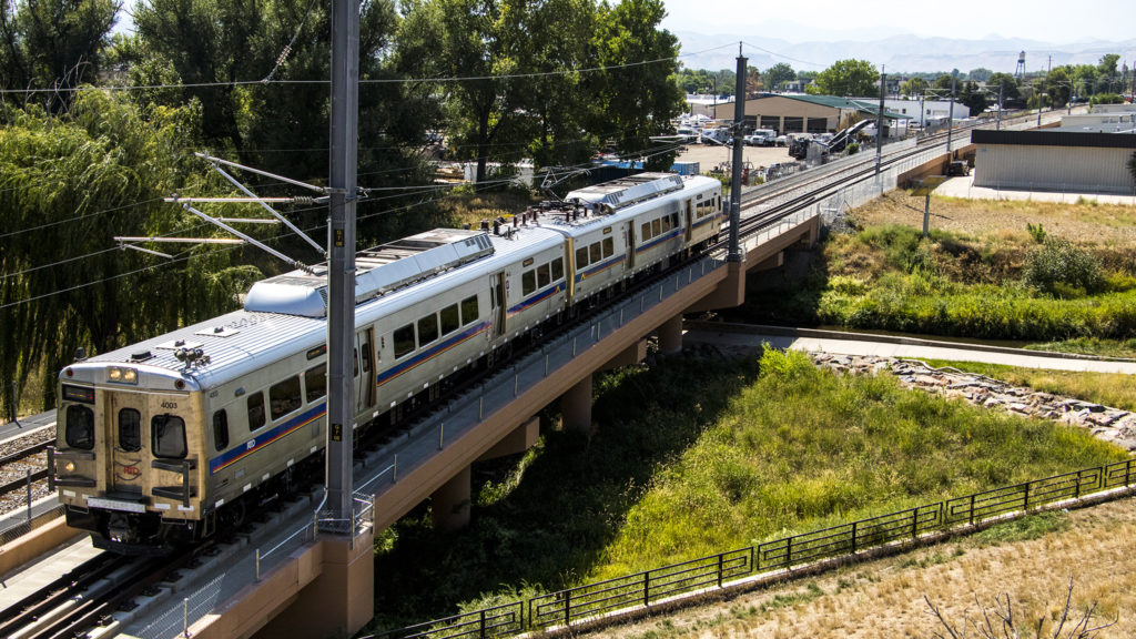 RTD tests trains on the soon-to-open G Line in Arvada, Sept. 4, 2018. (Kevin J. Beaty/Denverite)