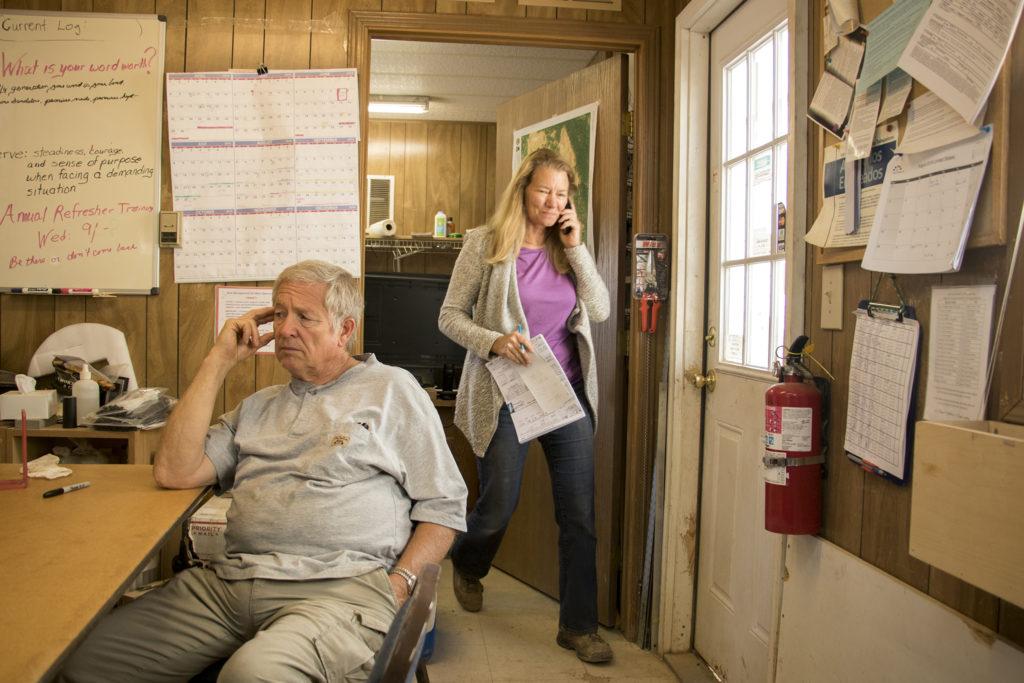 Brenda (right) and Bernard Buster inside their office at the Lyons Sandstone quarry, Sept. 7, 2018. (Kevin J. Beaty/Denverite)