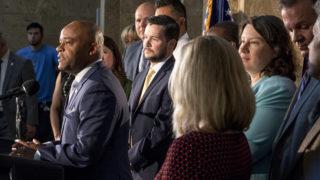Mayor Michael Hancock announces his proposed 2019 budget for Denver, Sept. 13, 2018. (Kevin J. Beaty/Denverite)