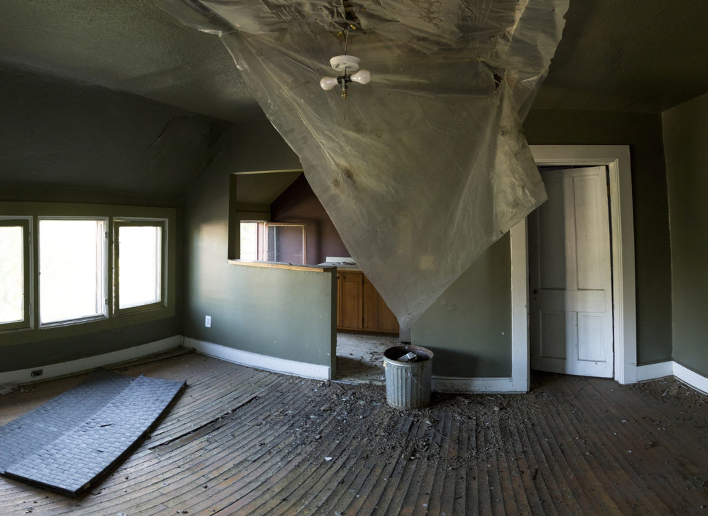 Birds have been living inside a historic home on East Colfax Avenue that was later turned into an apartment building, Sept. 14, 2018. (Kevin J. Beaty/Denverite)