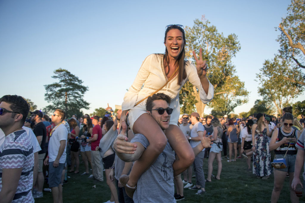 Andrew Ellis and Shelby Ross get down at Grandoozy at Overland Golf Course, Sept. 14, 2018. (Kevin J. Beaty/Denverite)