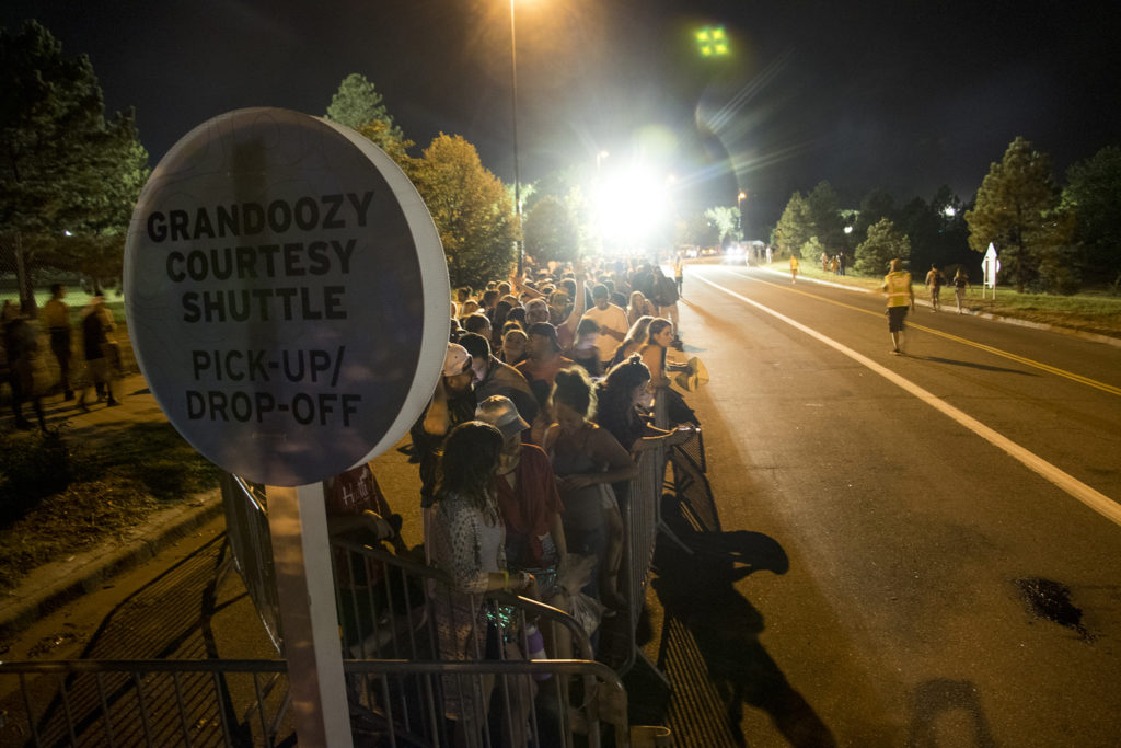 A very long line fora courtesy shuttle after Grandoozy at Overland Golf Course, Sept. 14, 2018. (Kevin J. Beaty/Denverite)