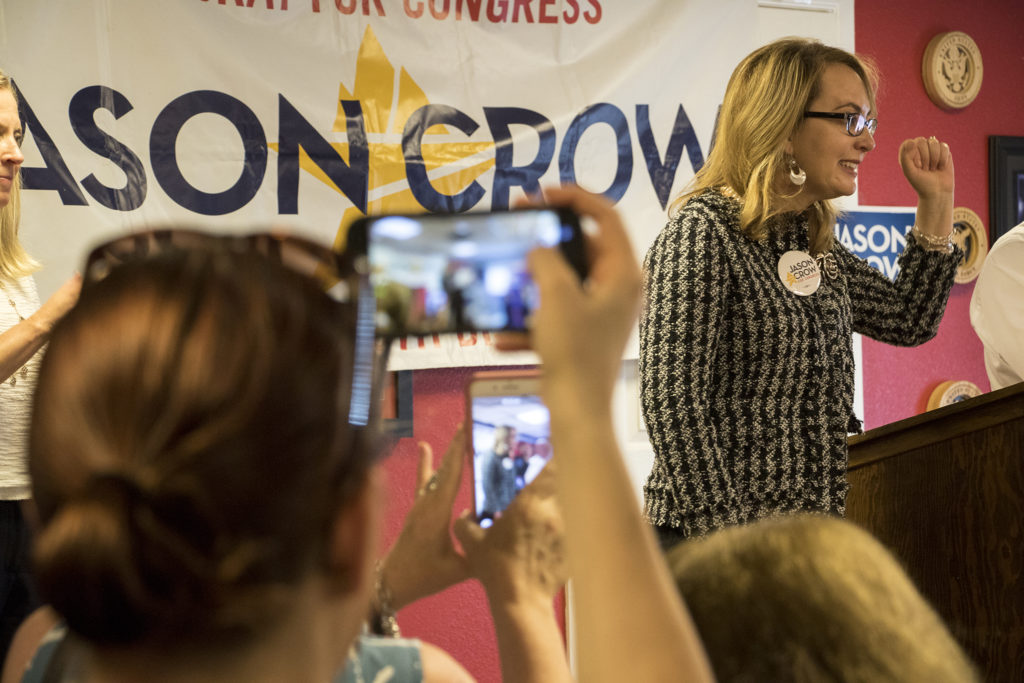 Former congresswoman Gabrielle Giffords speaks at a rally for congressional candidate Jason Crow at a VFW post in Aurora, Sept. 20, 2018. (Kevin J. Beaty/Denverite)