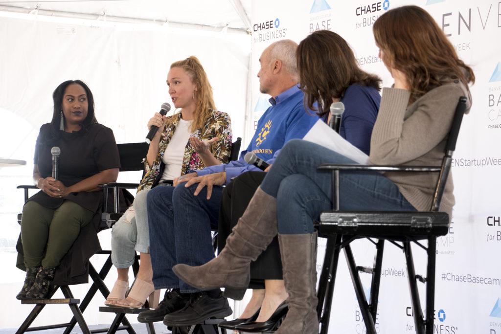 Denverite assistant editor Ashley Dean speaks on a Denver Startup Week panel near The Commons on Champa, Sept. 26, 2018. (Kevin J. Beaty/Denverite)