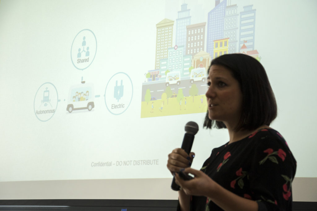 A discussion about driverless cars of the present and future during Denver Startup Week, Sept. 27, 2018. (Kevin J. Beaty/Denverite)