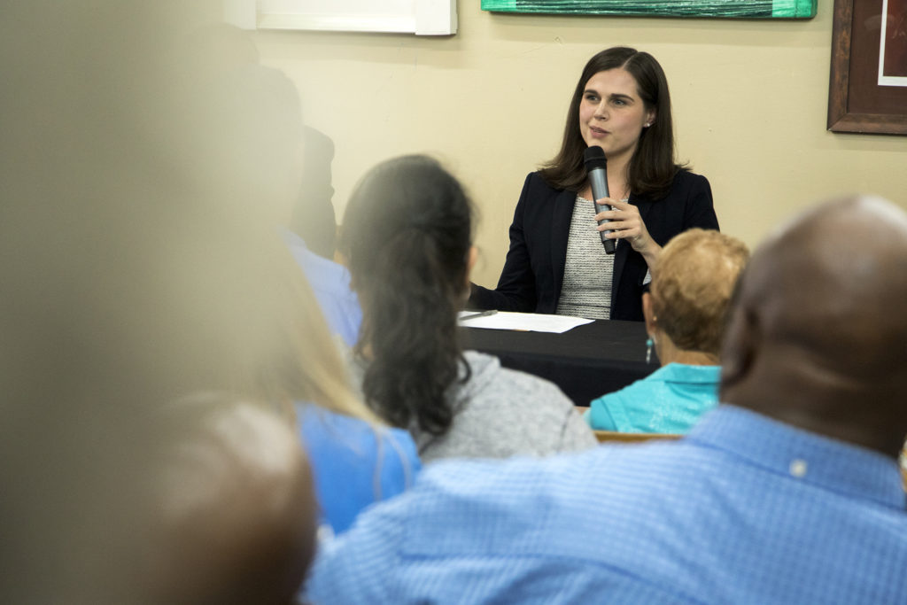 Colorado Secretary of State Jena Griswold speaks on a panel at Brother Jeff's Cultural Center in Five Points, Sept. 27, 2018. (Kevin J. Beaty/Denverite)