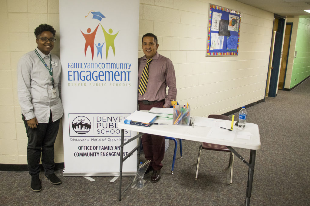 Angela Groves and Alex Tellez pose for a portrait at a job fair they organized at John Amesse Elementary School, one of the last in Denver's Workforce Development Month, Sept. 28, 2018. (Kevin J. Beaty/Denverite)