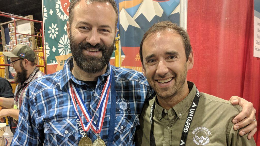 Jason Buehler and Patrick Crawford of Denver Beer Co. (Eric Gorksi/For Denverite)