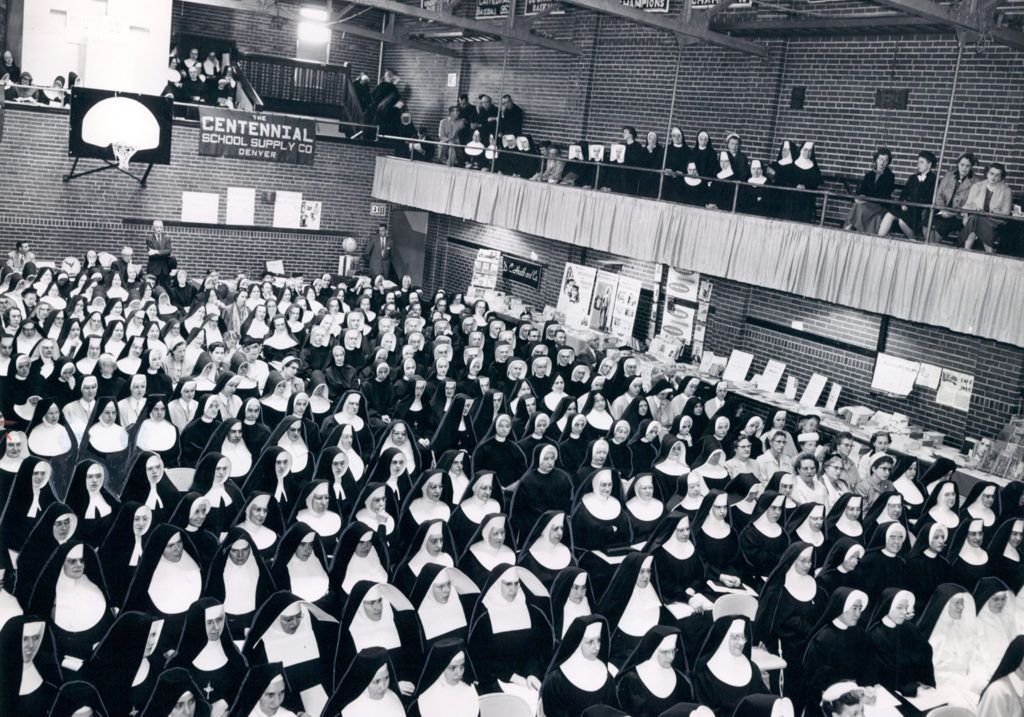 Nuns in a teacher's convention gather in Oscar Malo Hall, 1957. (Courtesy: Archdiocese of Denver)